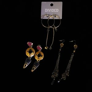 Earrings, pierced style 3 pairs